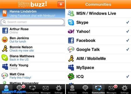 nimbuzz برنامج الشات Nimbuzz مع دخول متعدد على الياهو والهوتميل والفيس بوك لاجهزة الجيل الخامس