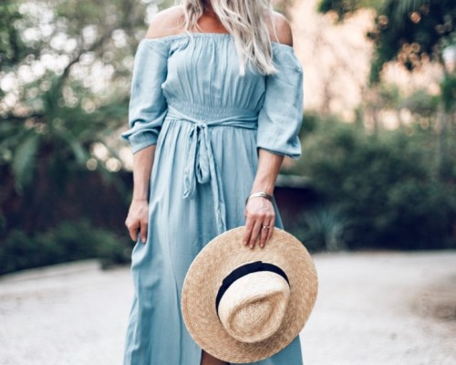 blue summer maxi dress by Christine Bennett of moxiefashionblog.com