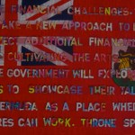 contemporary art of Bermuda premier Paula Cox throne speech on Bermuda flag, by artist Manuel Palacio