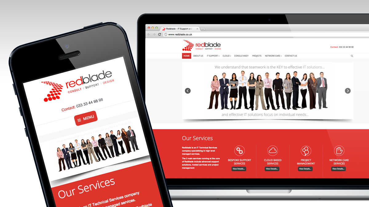 Redblade full website and responsive design