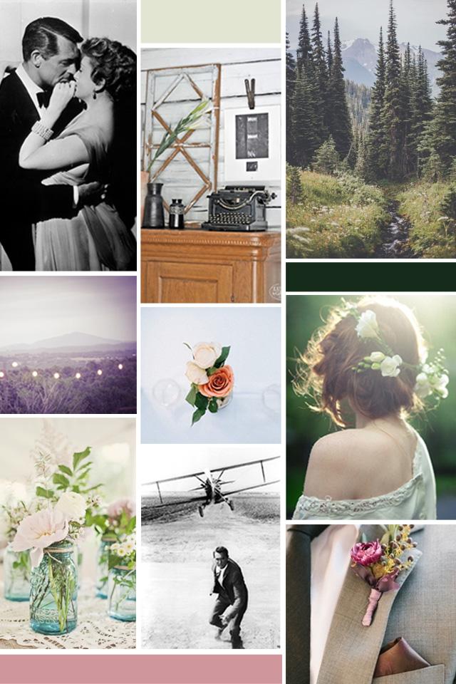 Moodboard de inpiración de unas invitaciones vintage para una boda: el bosque y los clasicos del cine de los años 50 son los conceptos principales