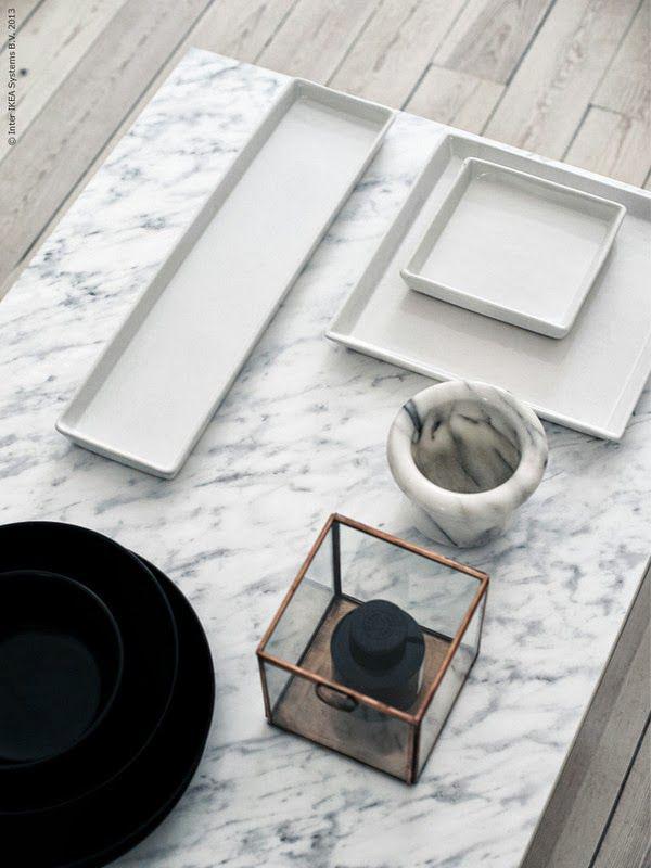 mesa ikea de marmol. Tendencia decoracion con marmol