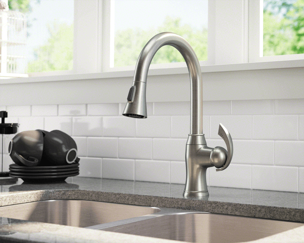 bn brushed nickel pull down kitchen faucet brushed nickel kitchen faucet