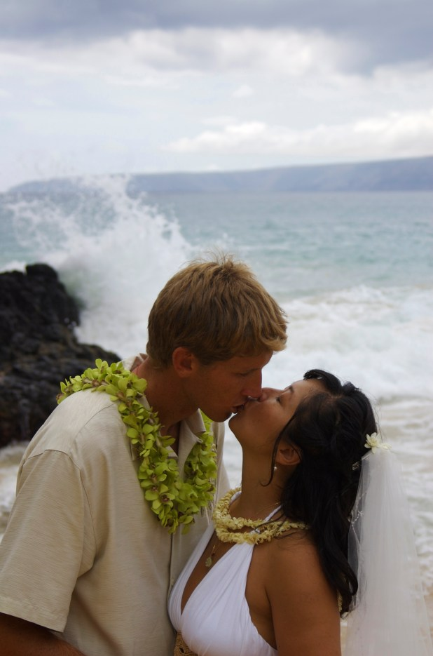 Ocean Wedding Kiss Image