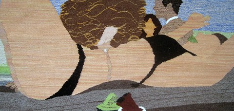 Erin Riley - Body Shots woven tapestry