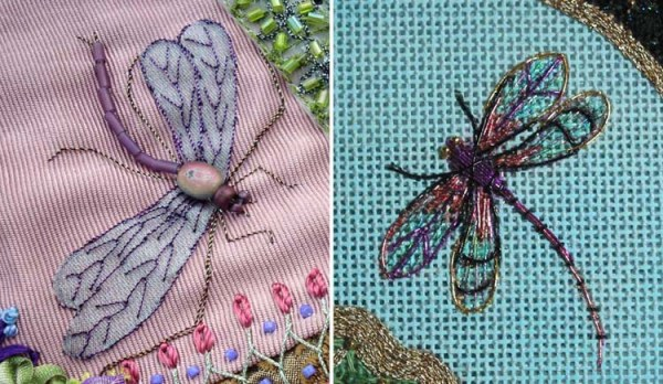Use metallic threads to stitch on top of fabric or other stitches to create veins on bugs' wings.