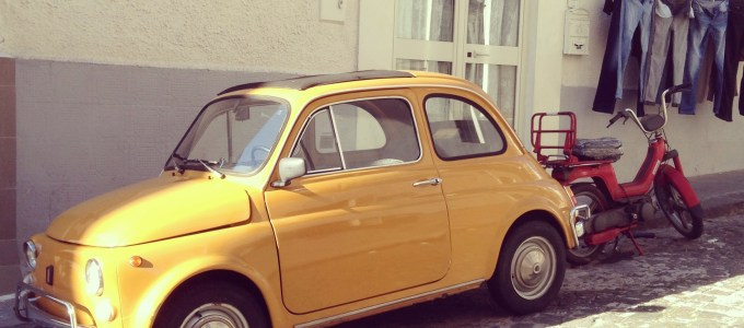 Yellow Fiat 500 by Sara Rosso
