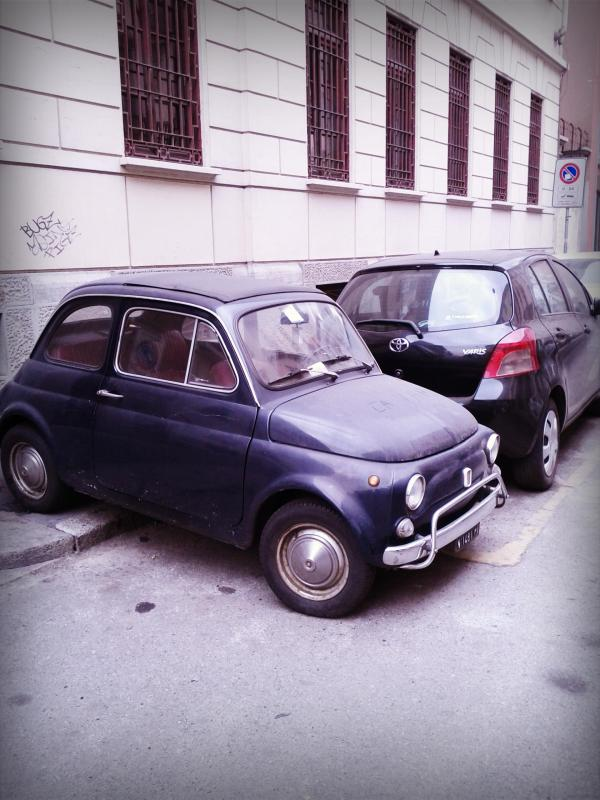 Blue vintage Fiat 500 by Sara Rosso