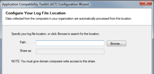 Application Compatibility Toolkit - Log File Location  Configuration