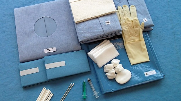 Basic components: <br/>Wrapping plain drape 100 x 110 cm; <br/>Eye Drape cover system 134 x 108 cm, with opening of 7.5 cm with integrated incision film and fluid collection pouch; <br/>Mayo stand cover with pouch 145 x 80 cm; <br/>1 pair of arm rest cover 75 x 35 cm with or without tape; <br/>Surgical gown Gr. L; <br/>Surgical gown Gr. XL; <br/>Disposable towels; <br/>Pro-Ophthalmic ocular sticks; <br/>Eye compress 7.0 x 8.5 cm; <br/>Cotton buds; <br/>Gauze swabs 12x10x10; <br/>Inject syringe 2ml L 2 pcs.; <br/>Omnifix syringe 5ml L / L 3tlg.; <br/>Cannula Gr. 1 <br/>Hydro-dissection cannula 27G; <br/>Swabs and syringe packets are individually packaged.