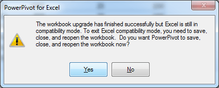 Upgrade the Workbook to Excel 2013