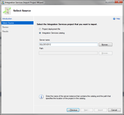 SSDT - Integration Services Project Wizard - Select Source