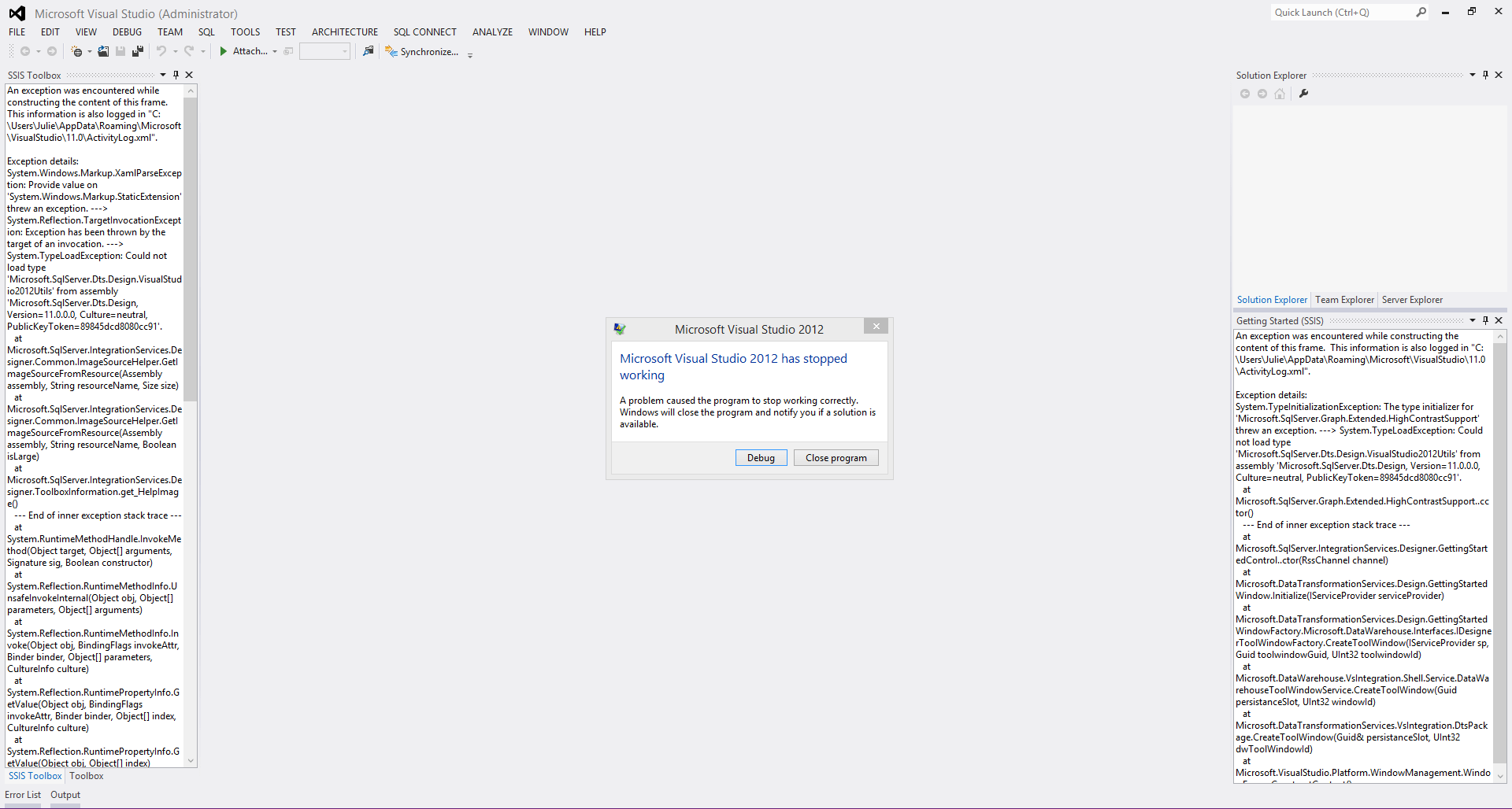 VS2012 Crashed At StartUp