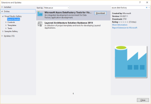 Azure Data Factory Extension on Visual Studio
