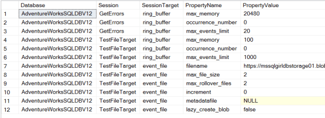XEvent Target Properties Query Output