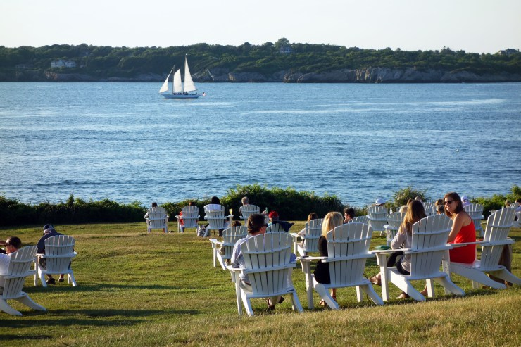 The Lawn at Castle Hill Newport Rhode Island - Adirondack Chairs and Sailboats