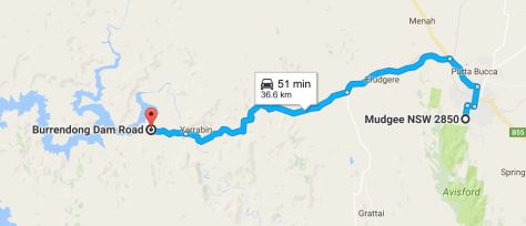 Approximate way Mudgee to Burrendong