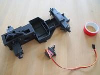 step 10, insert servo using double sided tape