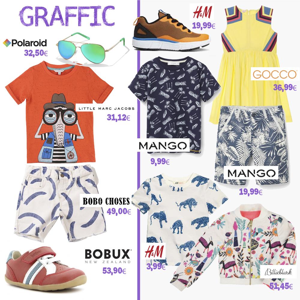 moda infantil mamis y bebes. Estilo graffic. Prendas de Polaroid, Little Marc Jacobs, Bobo Choses, Bobux, H&M, Gocco, Mango, BillieBlush