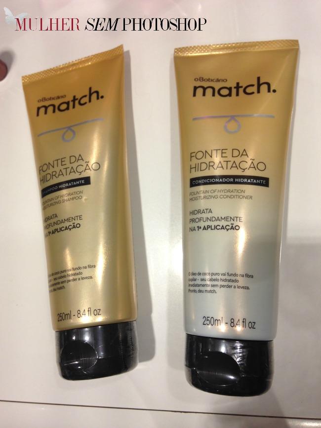 Match Boticario - fonte de hidratação - máscara pre-shampoo shampoo e condicionador