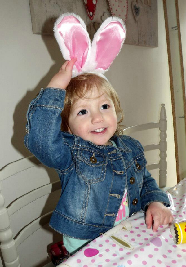 Amy wearing her Easter bunny ears and looking cute