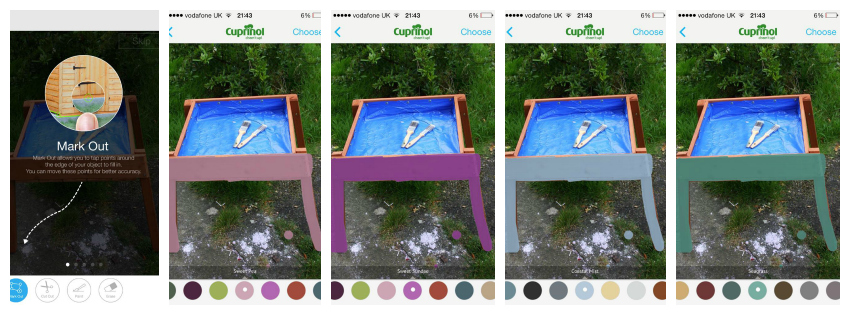 Outspiration app - visualise different colour options for your DIY projects