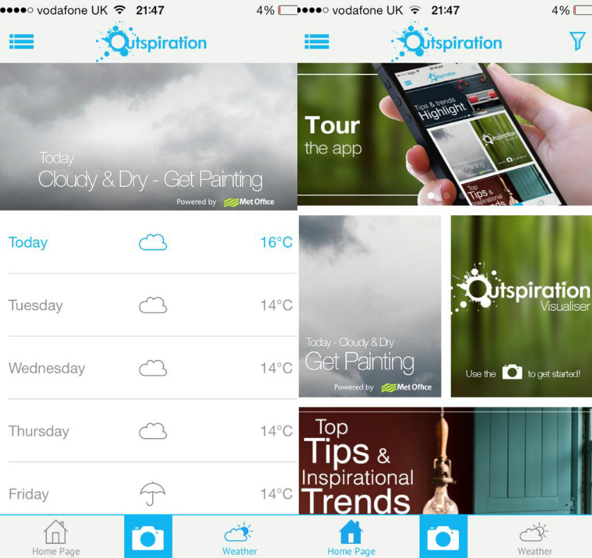 Outspiration app - weather forecast and features