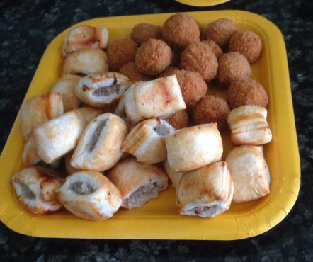coconuts & sausage filled monkey tails (scotch eggs & sausage rolls)