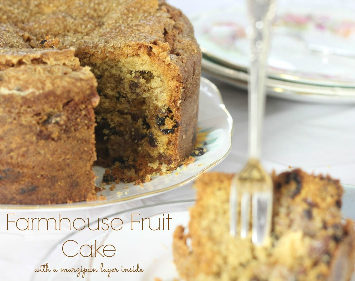 Farmhouse Fruit Cake with a marzipan layer inside