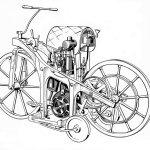 02-Mercedes Benz 125 años de innovación Daimler riding car 1885 la primera motocicleta del mundo