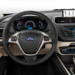 The interior of the all-new Ford Escort, which is unveiled at Auto China 2014