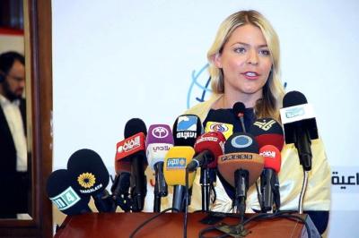 Falando em uma conferência de imprensa no Líbano sobre abusos dos direitos humanos que presenciei enquanto repórter no Barein.