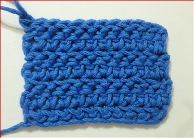 Medio punto vareta inclinado o herringbone half double crochet