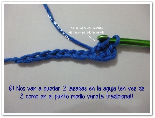 Punto medio vareta inclinado o herringbone half double crochet6