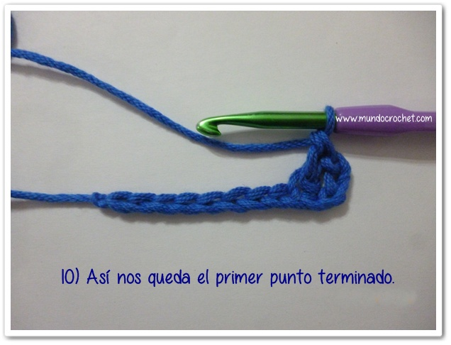 Punto vareta inclinado o herringbone double crochet10