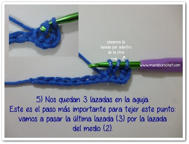 Punto vareta inclinado o herringbone double crochet5