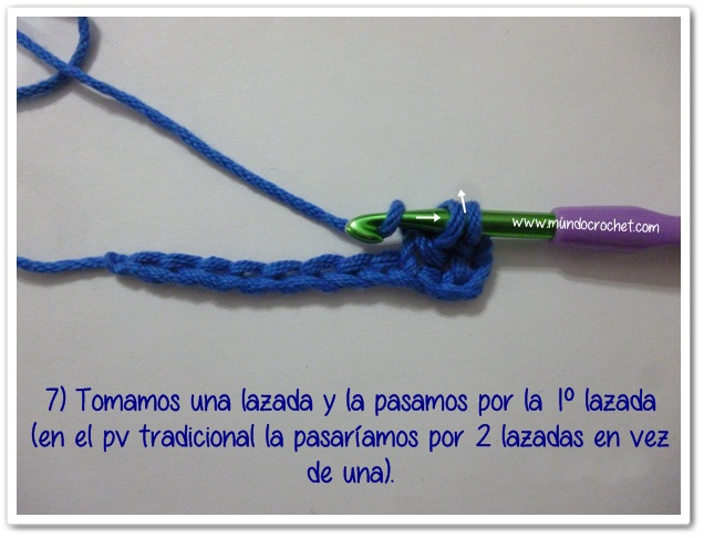 Punto vareta inclinado o herringbone double crochet7