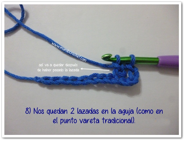 Punto vareta inclinado o herringbone double crochet8