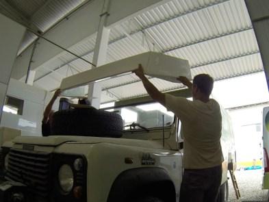 Colocando o teto da cabine