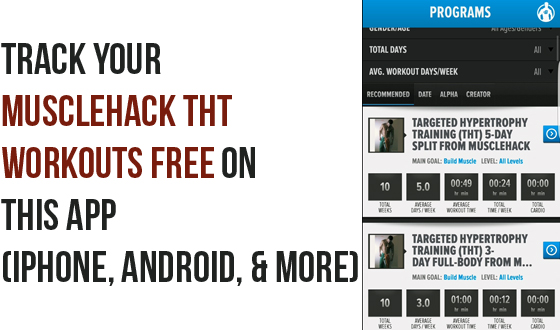Track MuscleHack THT Workouts On iPhone & Android App