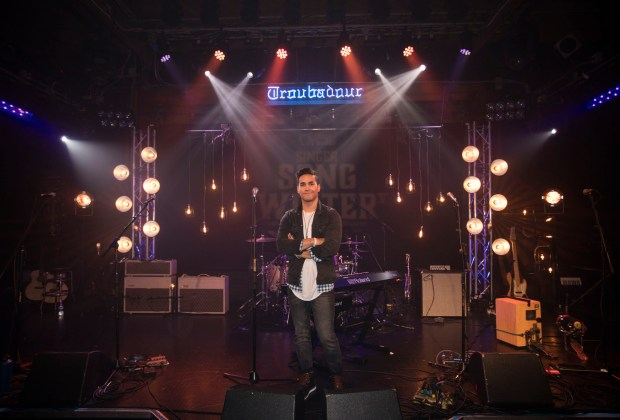John Russell, winner of Guitar Center's Sixth Annual Singer-Songwriter, pictured at the competition's Grand Finale on Friday, March 24, 2017, at the Troubadour in Los Angeles, Calif. Photo credit: Guitar Center/Briand Guzman.
