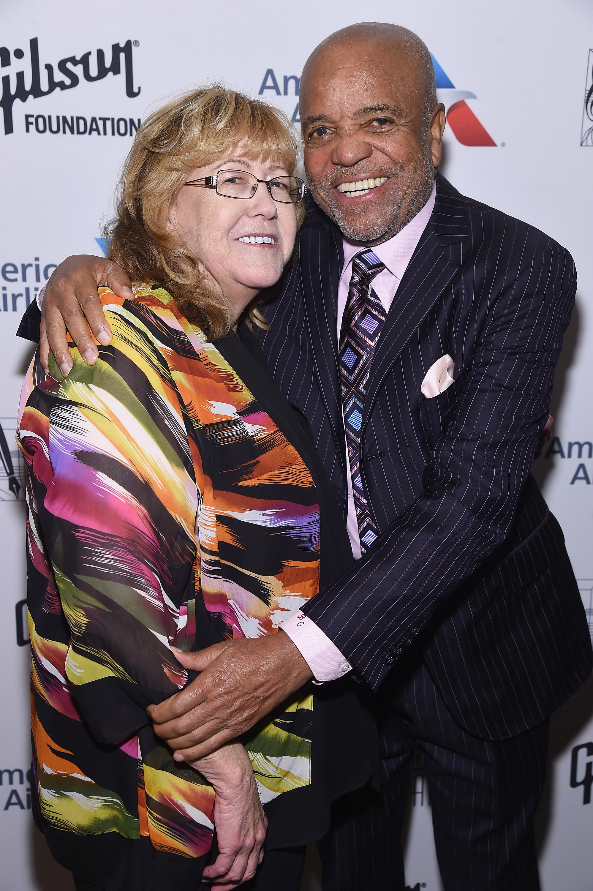 NEW YORK, NY - JUNE 15: Linda Moran and 2017 Inductee Berry Gordy pose backstage at the Songwriters Hall Of Fame 48th Annual Induction and Awards at New York Marriott Marquis Hotel on June 15, 2017 in New York City.  (Photo by Gary Gershoff/Getty Images for Songwriters Hall Of Fame) *** Local Caption *** Linda Moran; Berry Gordy