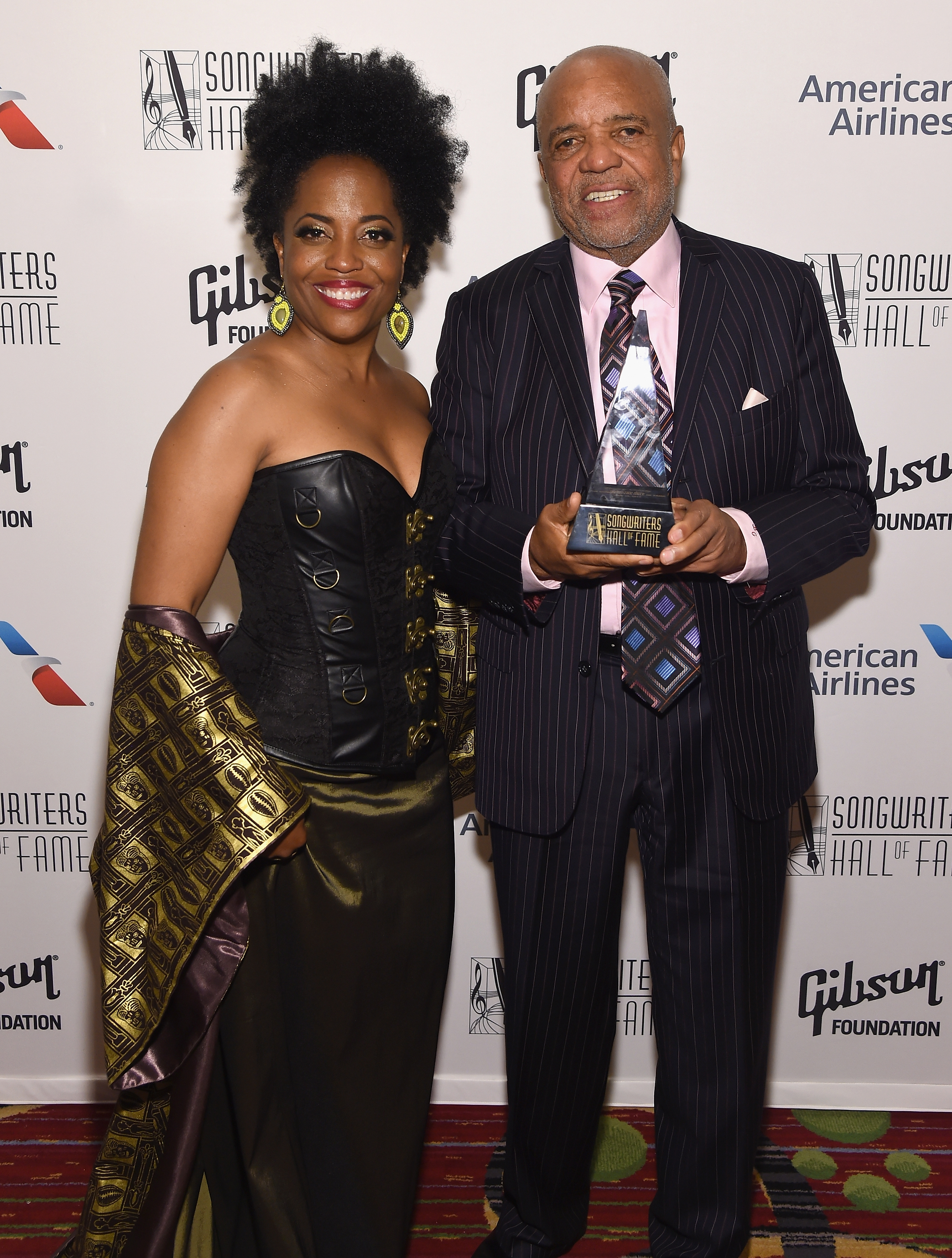 NEW YORK, NY - JUNE 15:  Rhonda Ross Kendrick poses with 2017 Inductee Berry Gordy baackstage at the Songwriters Hall Of Fame 48th Annual Induction and Awards at New York Marriott Marquis Hotel on June 15, 2017 in New York City.  (Photo by Larry Busacca/Getty Images for Songwriters Hall Of Fame) *** Local Caption *** Berry Gordy; Rhonda Ross Kendrick