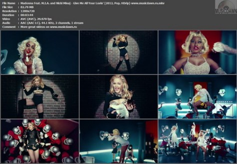 Madonna Feat. M.I.A. and Nicki Minaj - Give Me All Your Luvin' (2012, Pop, HD 720p)