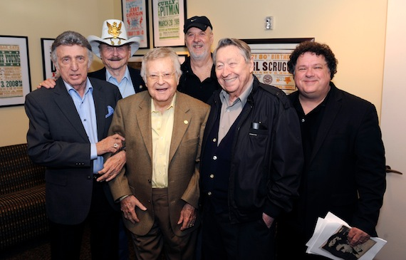 Stoker in 2011 at the Country Music Hall of Fame® and Museum's celebration of drummer D.J. Fontana. Pictured (L-R): D.J. Fontana, Jerry Chesnut, Country Music Hall of Fame member Gordon Stoker, David Briggs, Scotty Moore and program host Bill Lloyd. Photo: Donn Jones