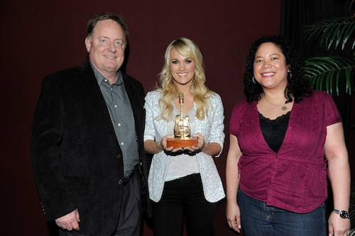 Pictured (L-R): Gary Overton, CEO & Chairman, Sony Music Nashville; Carrie Underwood; and, Rachel Fontenot, Associate Director, Marketing, Sony Music Nashville.