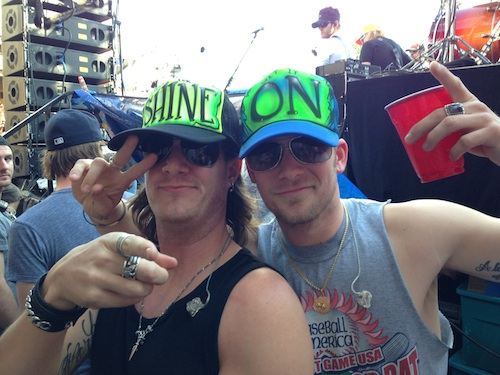 """Pictured (L-R): Florida Georgia Line's Tyler Hubbard and Brian Kelley get their """"Shine On"""" before joining Luke Bryan on stage at Spinnaker's Beach Club."""