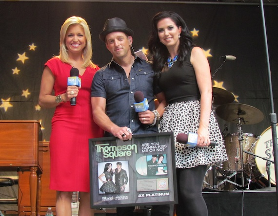 """Pictured (L-R): FOX & Friends' Ainsley Earhardt and Keifer and Shawna Thompson of Thompson Square celebrate over two million in sales forThompson Square's hit, """"Are You Gonna Kiss Me Or Not."""""""