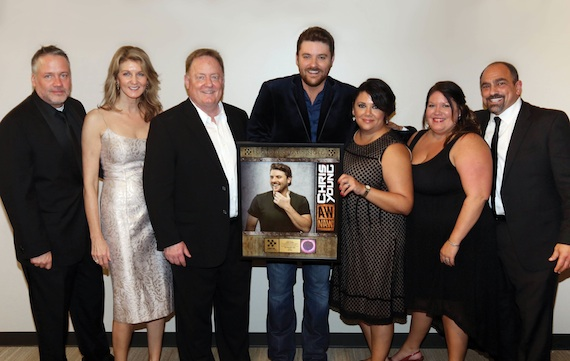 Pictured (L-R): Keith Gale, SVP Promotion, RCA Nashville; Marion Kraft, Shopkeeper Management; Gary Overton, Chairman & CEO, Sony Music Nashville; Chris Young; Caryl Healey, VP Sales, SMN; Alaina Vehec, Director of Digital Sales, SMN and Paul Barnabee, SVP Marketing, SMN.