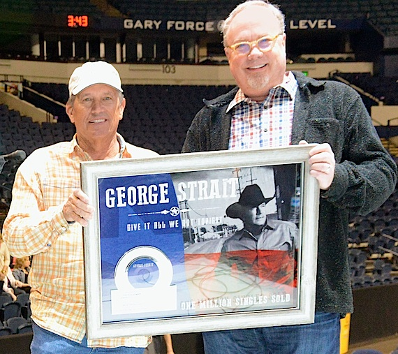 Pictured (L-R): MCA Nashville recording artist George Strait, UMG Nashville's Mike DunganPhoto Credit: Terry Calonge